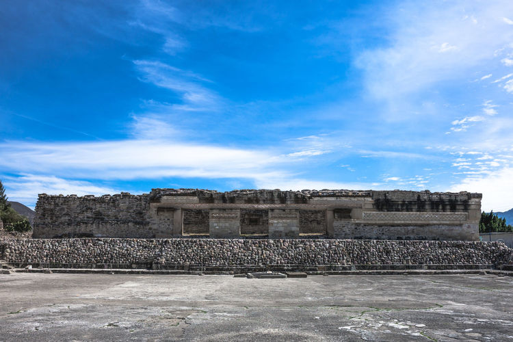 Ancestral Ancient Civilization Archeological Complex Archeology Architecture Blue Built Structure Cloud Cloud - Sky Day Mexico Nature No People Oaxaca Outdoors Precolombian Ruins Ruins Architecture Sky Spiritual Sunny Travel Travel Destinations Travel Photography Zapoteca