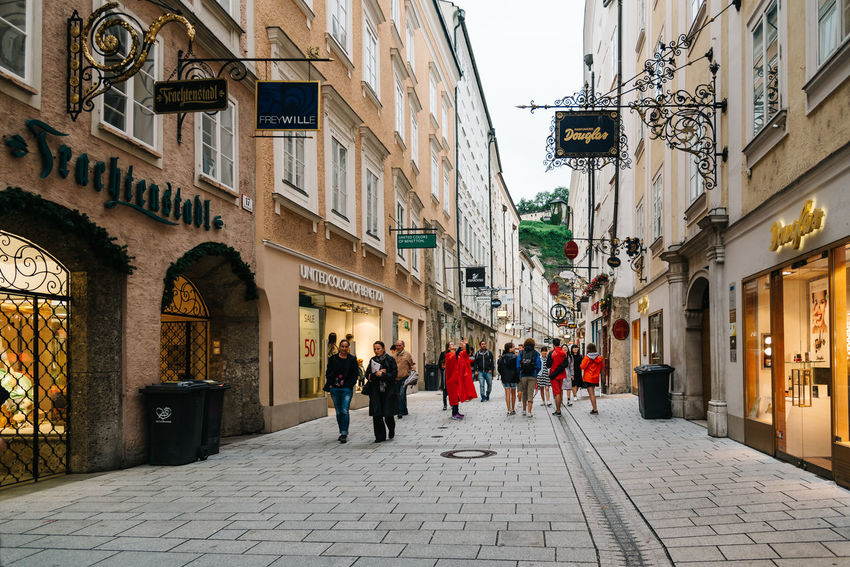 Street scene in Salzburg Austraila Cityscape Commercial Street Shopping Adult Architecture Building Exterior Built Structure City Cityscapes Commercial Day Group Of People Large Group Of People Luxury Men Outdoors People Real People Street Travel Destinations Walking Women
