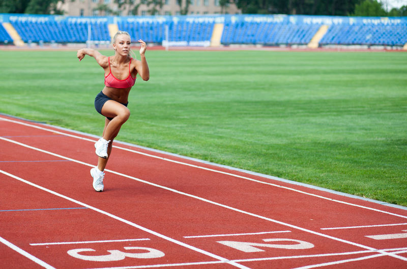 Attractive young woman in a sports suit running to the finish line Sport Track And Field Running Track One Person Athlete Full Length Competition Motion Running Stadium Day Young Adult Adult Sports Clothing Vitality Front View Track And Field Athlete Women Outdoors Human Limb Human Arm