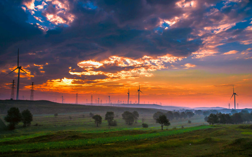 Wind turbines on field against orange sky