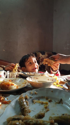 Egypt Boys Childhood Egyptian Food Food Lifestyles One Person Plate Ready-to-eat Smiling Table égypte