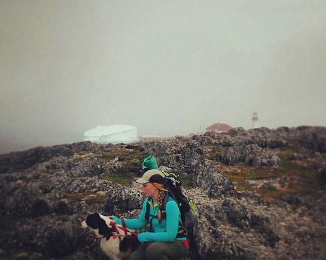 Adventure A Girl And Her Dog Lighthouse Iceberg Newfoundland Quirpon Island Canada Backpacking Camping Wanderer Adventure Club