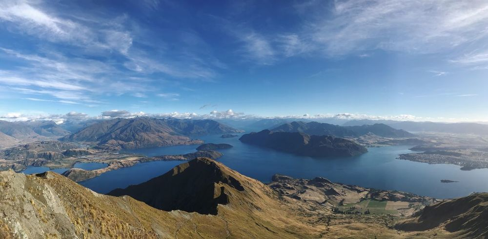 Roys Peak Lookout Lake Wanaka Panorama Panoramic Travel Lookout New Zealand Roys Peak Walk Scenics Mountain Sky Nature Beauty In Nature Tranquil Scene No People Landscape Cloud - Sky Mountain Range Tranquility Blue Physical Geography Outdoors Day