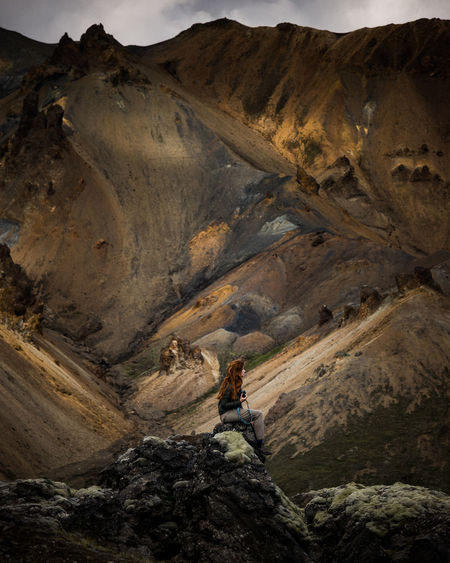 Lost in Landmannalaugar Hiking Landscape Mountain Outdoors No People Nature Young Adult Only Women Lost In The Landscape One Young Woman Only One Woman Only Young Women Iceland Iceland_collection The Week On EyeEm Editor's Picks