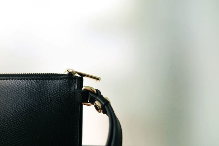 Lether Bag Purse Black Gold Golden Fashion Style Pocket  Clutch Detail Handle Zipper Still Life Women Storage Clip White Background Beauty Chic Extraordinary  Design No People Close-up Details