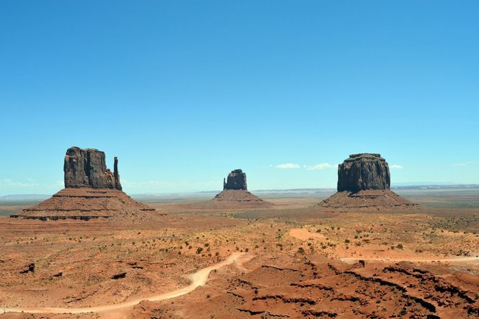 Monument Valley Summer Road Tripping Sand Dune Clear Sky Desert Arid Climate Sand Blue Rock - Object Sunny Sky Landscape Eroded Rock Hoodoo Geology Rocky Mountains Semi-arid