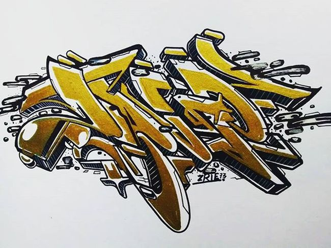 Gold so bold Simple Marker Graffiti Sketch Pen Doodle Zrie73 Freestyle Handstyle Font Typo Bombing Simple Piece Drawing