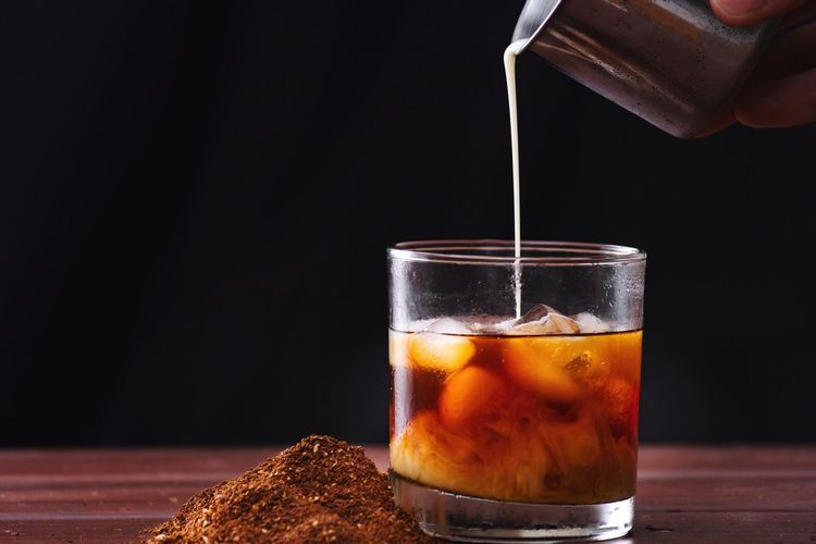 buy my photo for charity Coffee Milk Drink Black Background Filling Drink Drinking Glass Cola Pouring Liquid Close-up Food And Drink Frothy Drink Froth Art Falling Drop Cappuccino High-speed Photography Water Drop Beer Glass Non-alcoholic Beverage Lager