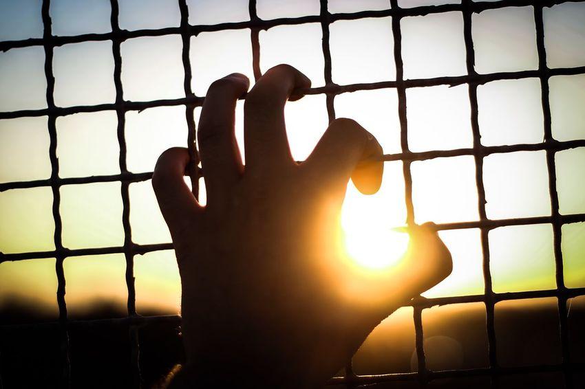 Hand Sunset Sun Freedom Jail Streetphotography Taking Photos