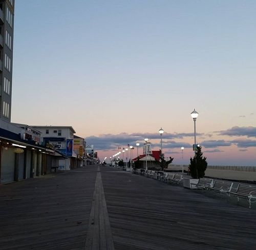 Quiet on the boards this evening.... Oceancitycool OceanCity Maryland Ocmd Boardwalk Sunset