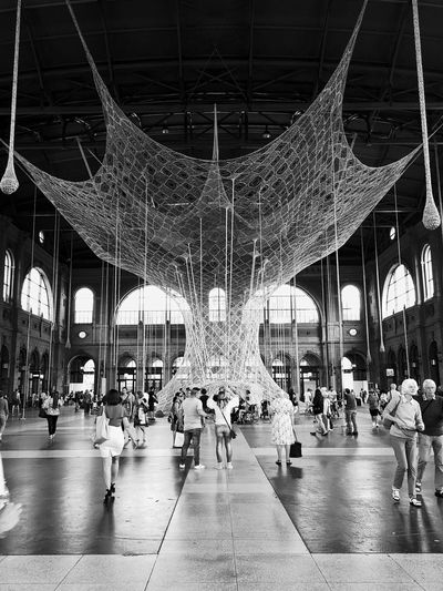 Hauptbahnhof Zürich Ernesto Neto «GaiaMotherTree» Fondation Beyeler Black & White Celebration Architecture Art Arts Culture And Entertainment Black And White Built Structure Crowd Enjoyment Group Of People Incidental People Large Group Of People Leisure Activity Lifestyles Monochrome monochrome photography Real People Travel Destinations