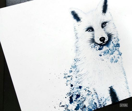 """Snowfox"" - Print Version Foxes Foxgloves Animal Painting Drawing ArtWork Creative Fox Printing Illustration Art Gallery Digital Art Photoshop Artist Drawings Foxy Creativity White Background Artgallery Animal Drawing Fox🐺 Sketch My Artwork Aquarelle Blue Colored"