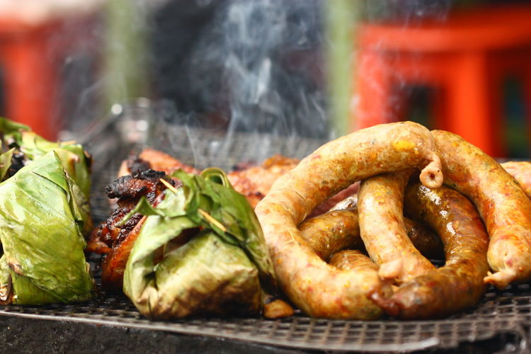 Barbecue Barbecue Grill Close-up Day Fast Food Focus On Foreground Food Food And Drink Freshness Grilled Meat No People Ready-to-eat Selective Focus Smoke - Physical Structure Snack Still Life Unhealthy Eating Vegetable