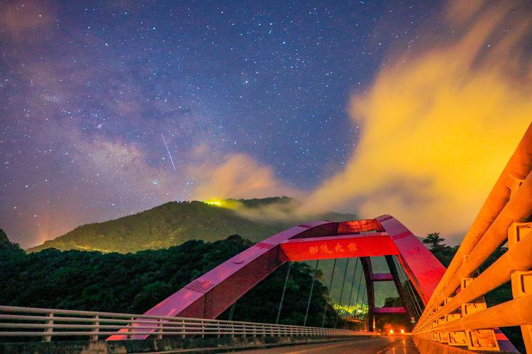 Taiwan taoyuan milky way night bridge scenery ten thousand stars in the starry sky