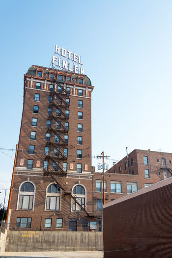 BUTTE, MT - AUGUST 21: View of historic Hotel Finlen in Butte, MT on August 21, 2015 Architecture Brick Butte, Montana Butte, MT Center Clear Sky Day District Downtown Finlen Historic Historical Building Hotel Main Street Main Street USA Montana No People Outdoors Sky Travel USA