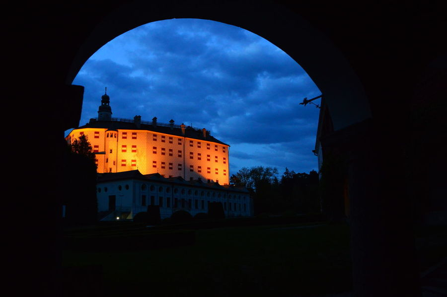 Castle Gewölbe Innsbruck Nacht Architecture Building Exterior Cloud - Sky History Illuminated No People Outdoors Schloss Ambras Silhouette Sky Travel