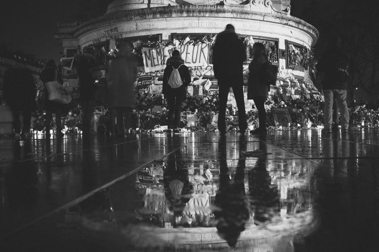 Blackandwhite Fiers De La France JesuisParis Long Exposure Monochrome Nightphotography Nikon D750 Noussommesunis Place De La République Prayforparis Reflection B&w Street Photography