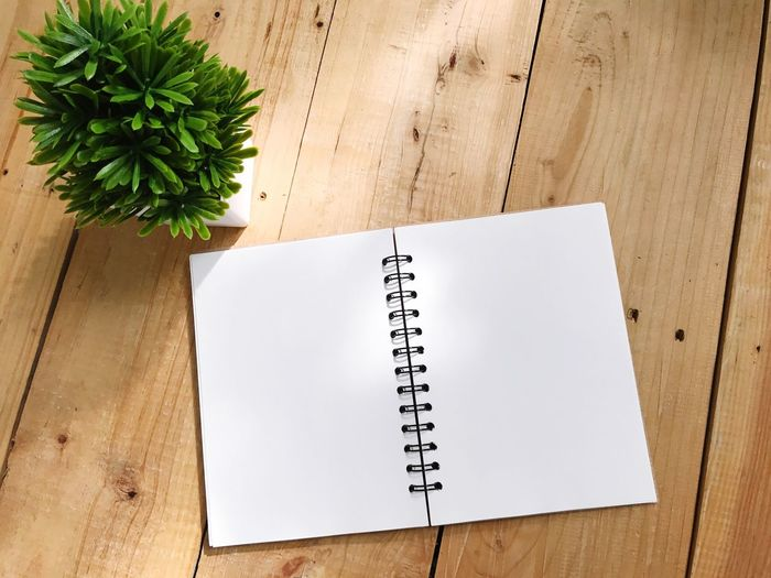 Wood - Material Table Book Note Pad High Angle View Page Spiral Notebook Blank Paper Diary Indoors  No People Education Reminder Day Close-up Empty Wooden Brown Copy Space Green Plant BYOPaper!