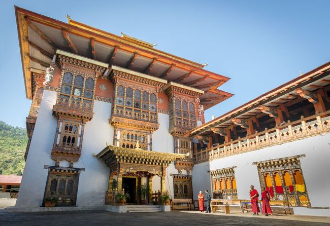 Building Exterior Architecture Built Structure Day Traditional Culture Religious Art Dzong Castle Asian Culture Religious Architecture Wide Angle Historical Building Bhutan