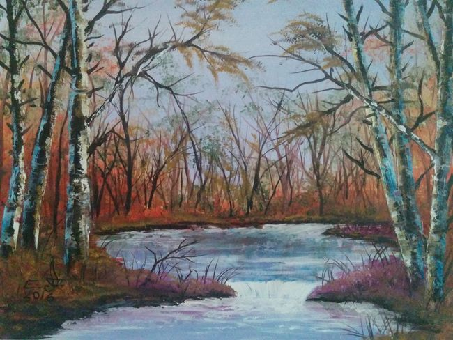 "Autumn in Ojai,painted on the spot.oil on canvas 14""_22"" , Tranquil Scene Forest Tree Nature Scenics Water Beauty In Nature Outdoors Lovelyday My Art Colllection Art, Drawing, Creativity Fine Art Oil Painting Drawing Cretiveart Beauty In Nature Friendship. ♡   Painting Love ♥ Koi."