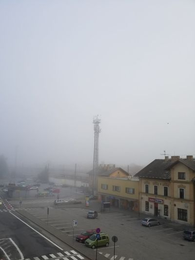 Weather Street Fog Car Sky Foggy Day Foggy Trainstation Foggy Morning Foggy Weather Train Station Empty Spaces Morning Train Emptiness Melancholy Melancholia TV Mast Antenna Czech Republic Czech Republic
