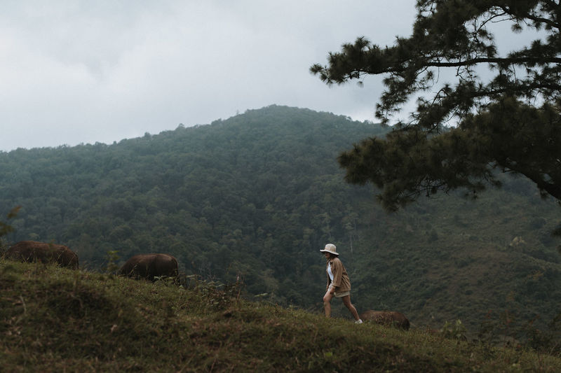 Full length of woman walking on hill against forest