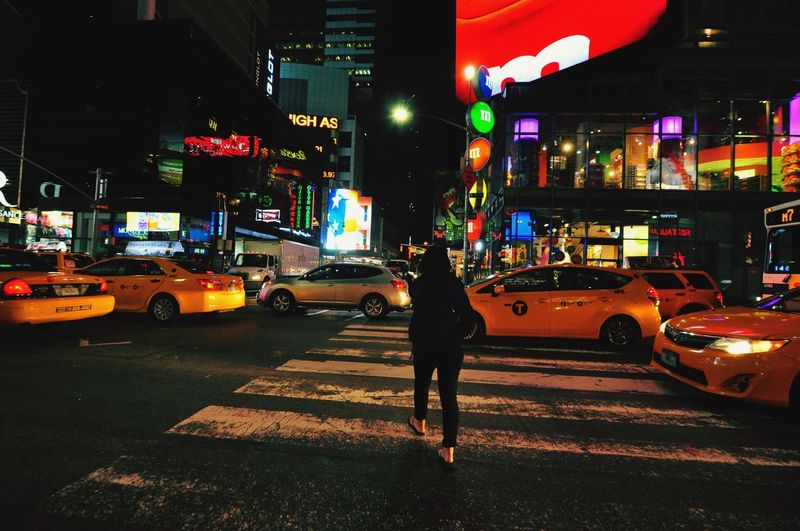 Walking in the city New York Walking Yellow Taxi Transportation Land Vehicle Car Traffic Traffic Lights