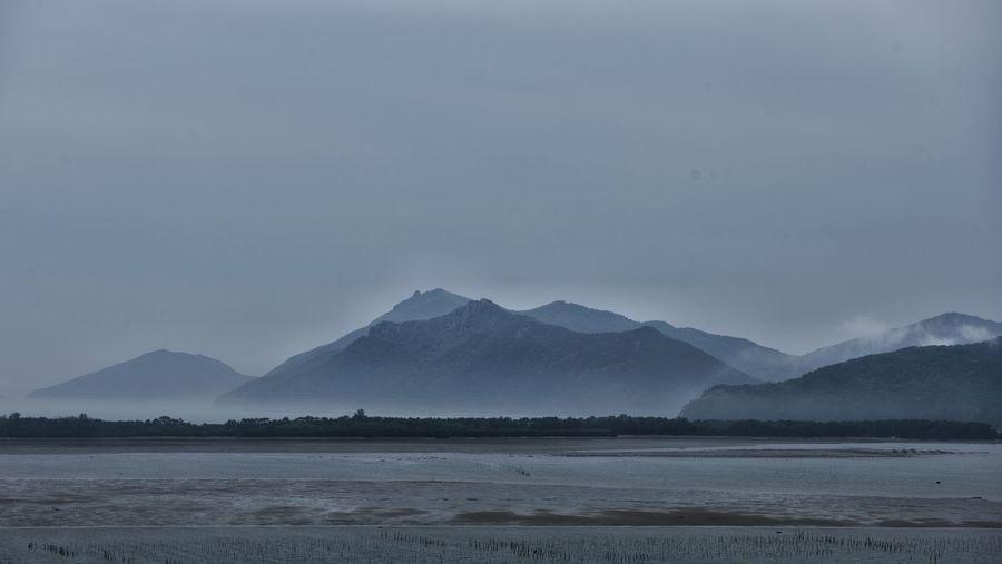 Sea fog and mountains