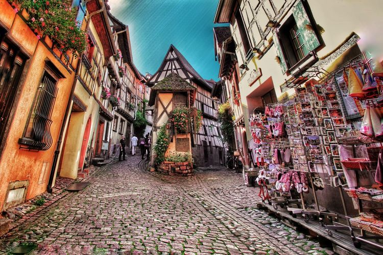 Eguisheim, Alsace, France Architecture Built Structure Outdoors Building Exterior Sky No People Illuminated City Alsace
