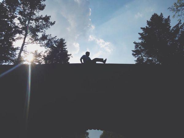 Dont Jump Silhouette Sun Flare EyeEm Dodgeball 2014 Balancing Act