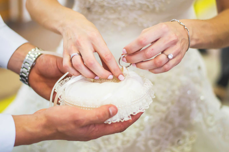 Cropped hands of bridal couple holding ring
