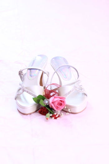 Bride Wedding Shoes Studio Shot Still Life Indoors  Pink Color Close-up Flower No People Plant Celebration White Background Freshness Flowering Plant Jewelry Rose - Flower Shoe Wedding Shoes Wedding