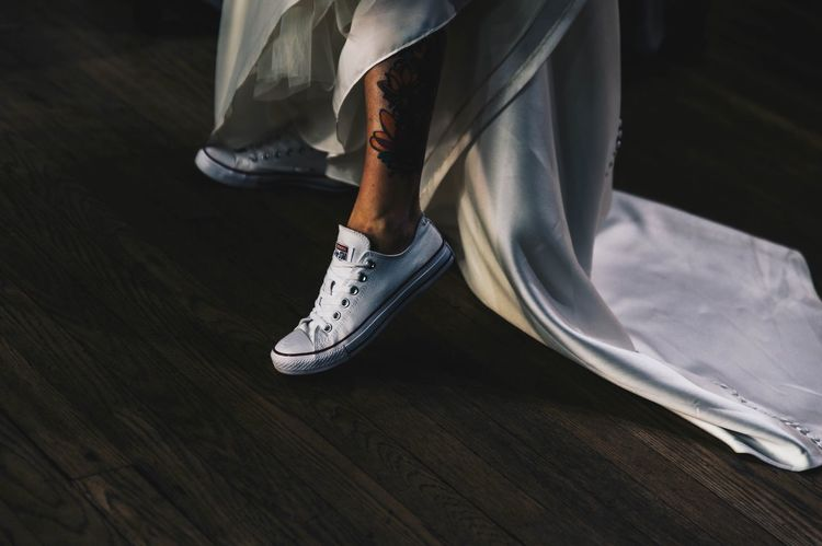 Bride Trainers Converse Wedding Dress Wedding Low Section Shoe Human Leg One Person Real People Indoors  Lifestyles Human Body Part Close-up Adult People EyeEmNewHere Colour Your Horizn This Is My Skin