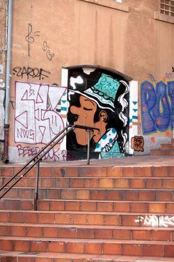 Art De La Rue Graph Escalier Stairs Graffiti Brick Wall Street Art Day No People Architecture Outdoors