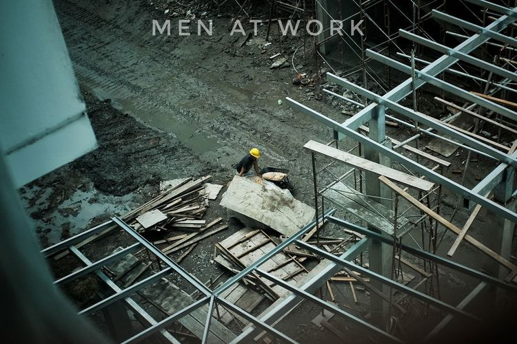 High angle view of worker working at construction site