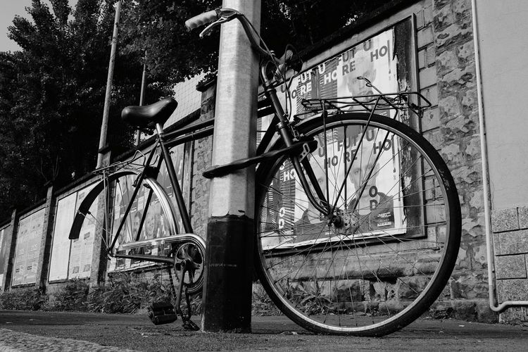 Merd!!! Streetphotography Fujifilm EyeEmNewHere Bnw_collection Outdoors Monochrome Bnw_captures Blackandwhite Street Life Focus On The Story Bicycle Bicycle Rack Metal Close-up Pedal Wheel Parking Stationary