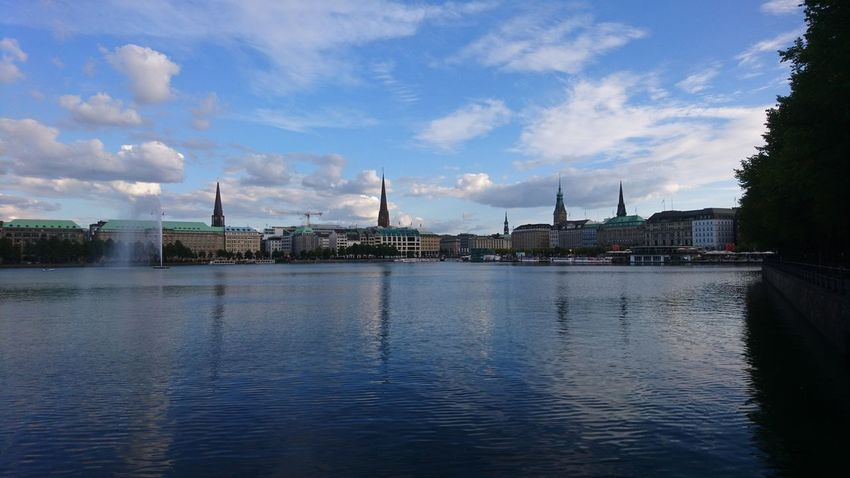 Binnenalster. Hamburg Germany Hh Alster Alster River River Binnenalster Water Blue Blue Sky Clouds And Sky Summer Reflection Cityscape Urban Landscape Beauty In Nature Urban Beauty Skyline City Water Cityscape Sea Sky Architecture Cloud - Sky