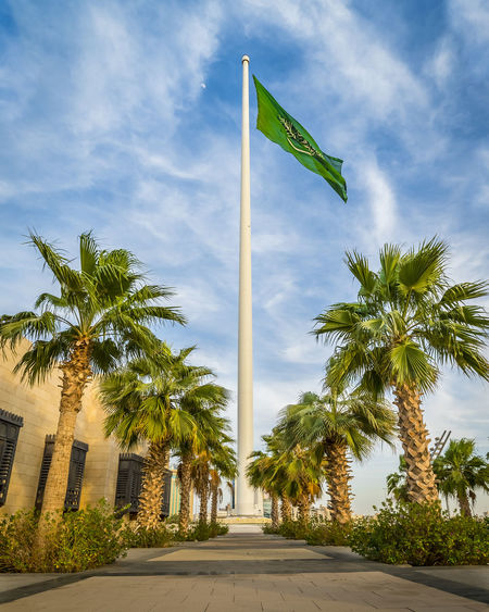 The Jeddah Flagpole is a flagpole in King Abdullah Square in Jeddah Saudi Arabia. Standing 170 metres (560 ft) high, it has been the tallest flagpole in the world since 2014. The cylindrical flagpole was built of 500 tons of steel in September 2014 by the Abdul Latif Jameel Community Initiative and Al-Babtain Power and Telecom. The flagpole broke the previous height record held by Dushanbe Flagpole in Tajikistan, which is 165 metres (541 ft) tall. Previous record holders included the 162-metre (531 ft) National Flagpole in Azerbaijan, the 160-metre (520 ft) Panmunjeom Flagpole of Kijong-dong in North Korea, and the 133-metre (436 ft) Ashgabat Flagpole in Turkmenistan. Beautiful City EyeEmNewHere Flagpole View High Jeddah Jeddah Beach Jeddah City Beach Flagpole Holder Jeddah_ksa Summer Exploratorium Adventures In The City