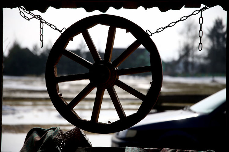 Close-up of chain against boat
