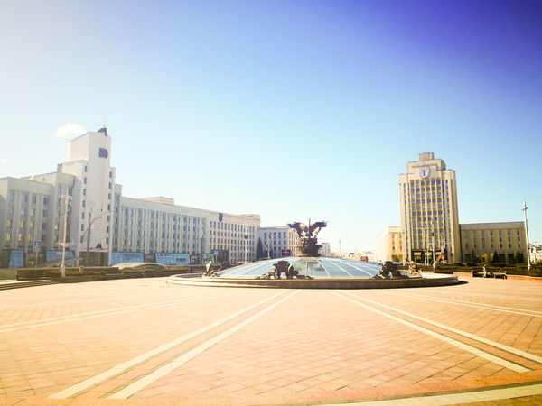 Architecture Belarus Building Exterior Built Structure Car City Cityscape Clear Sky Day Huawei Huawei P9 Leica HuaweiP9 Huaweiphotography Main Square Minsk Modern No People Outdoors Sky Skyscraper Soviet Square Street Tree