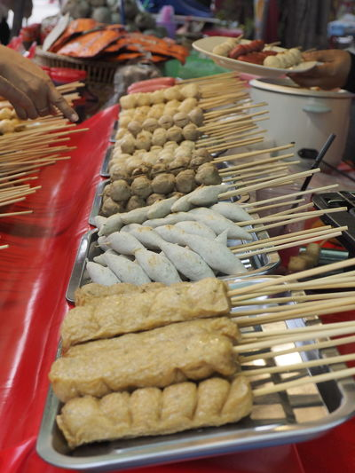Food in market stall