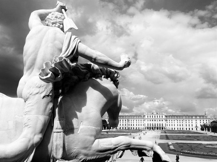 I don't often use a B&W filter, but I really like this. Built Structure Capital Cities  Castle Cloud - Sky Day Famous Place Famous Places Fierce Garden History Horse Statue Men Palace Person Schönbrunn Schönbrunn, Vienna Austria Sculpture Sky Statue Tourism Travel Destinations Vacations Vienna