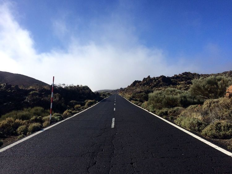 Travel Destinations Teide National Park EyeEm Nature Lover EyeEm Road Sky Transportation Symbol The Way Forward Sign Direction Road Marking Cloud - Sky Tree Plant Day Nature Tranquil Scene Empty Road Tranquility No People