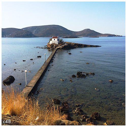 Leros Leros Island Greece Chiesetta di Sant'Isidoro nella baia di Gournas Sea Church