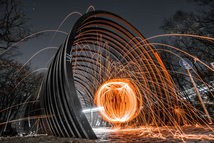 Long Exposure Wire Wool Motion Blurred Motion Illuminated Night Glowing Spinning Sparks Orange Color Fire Burning Nature Fire - Natural Phenomenon Shape Light Trail No People Heat - Temperature Light Painting Architecture Outdoors Firework Steelwoolphotography Steelwoolspinning SLINKY SPRINGS TO FAME