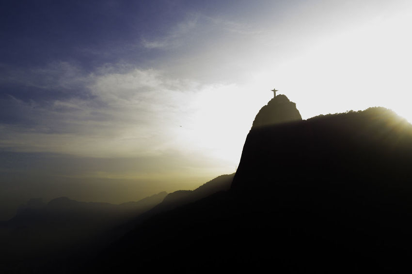 City Cloud Corcovado Sunrays Christ Landscape Mountain Outdoors Silhouette Sunset