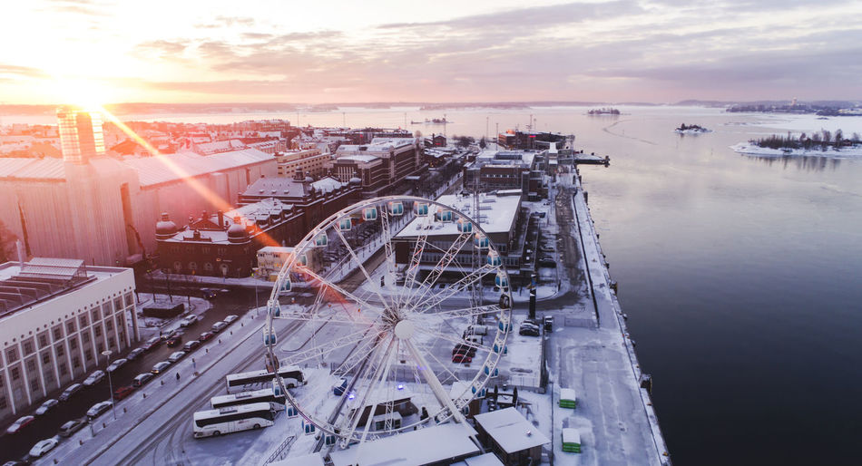 Finland Helsinki Ice Sunset_collection Suomi Amusement Park Architecture City Cityscape Cold Europe High Angle View Ilmakuva Katajanokka Lens Flare Nature No People Sea Sky Snow Sun Sunlight Sunrise Sunset Water