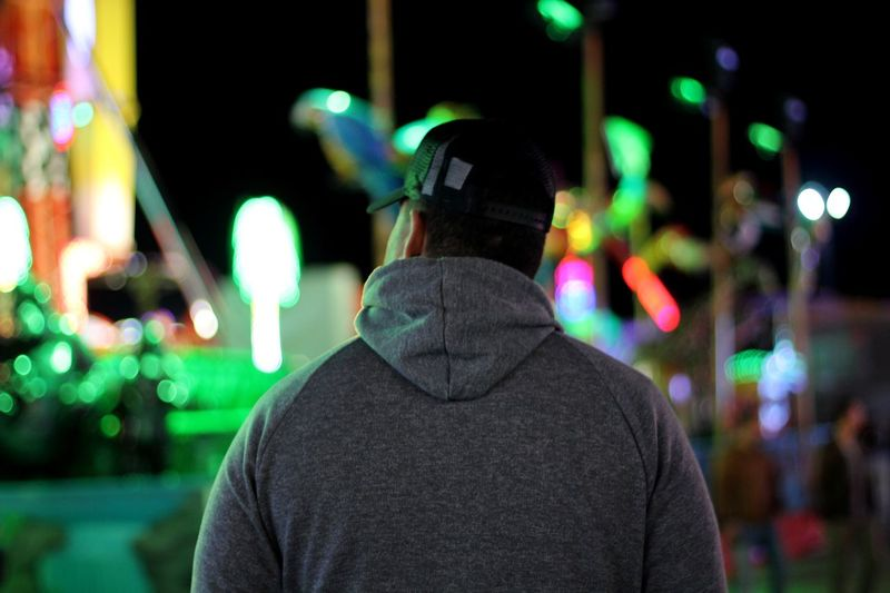 Boyfriend Trapped Music Rear View Night One Person Focus On Foreground Illuminated City Men Real People Standing Leisure Activity Street Outdoors Lifestyles City Life Casual Clothing Portrait Clothing Architecture Nightlife Waist Up First Eyeem Photo