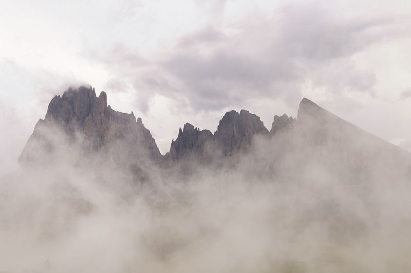 Dolomites Italy Dolomites EyeEm Selects Fog Mountain Nature Sky Beauty In Nature Scenics Outdoors Day Tranquility No People Low Angle View Cloud - Sky