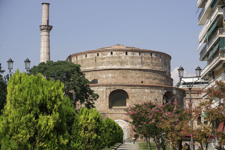 Rotunda of Galerius cylindrical structure in Thessaloniki Greece external view. Day view of the 4th-century monument with minaret , also called Agios Georgios church at the city center on a sunny day. Agios Georgios Church Rotunda Archeology Architecture Balkans Europe Galerius Emperor Thesaloniki Structure, Greek Hellenic Macedonia Rotunda Thessaloniki Landmark Ancient Civilization Antiquities Architecture Built Structure Emperor Greece Historic History Minaret Rotunda No People Roman Ruins Thessaloniki Rotonda Salonica Saloniki Travel Destinations